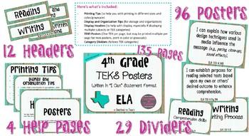 "4th Grade ""I Can"" Statement TEKS Objectives Posters for 2017 ELA TEKS Distressed"