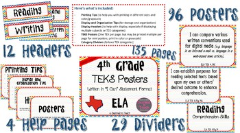 """4th Grade """"I Can"""" Statement TEKS Objectives Posters for 2017 ELA TEKS - Primary"""