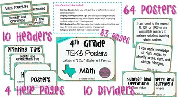 "4th Grade ""I Can"" Statement TEKS Objectives Posters for Math - Distressed"
