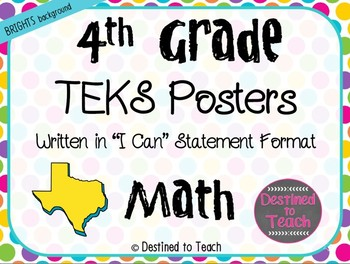 """4th Grade """"I Can"""" Statement TEKS Objectives Posters for Math - Brights"""