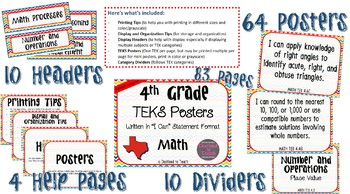 "4th Grade ""I Can"" Statement TEKS Objectives Posters for Math - Primary"