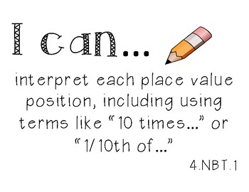 """4th Grade """"I Can"""" Statements"""
