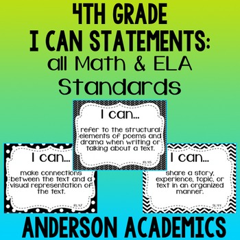 """4th Grade """"I Can"""" Statements Bundle: All Standards - B&W"""