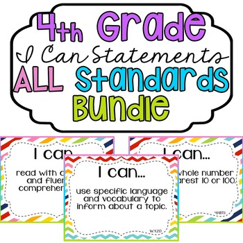 """4th Grade """"I Can"""" Statements Bundle: All Standards - Rainbow"""
