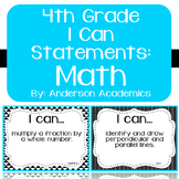 "4th Grade ""I Can"" Statements: Math - Black & White"