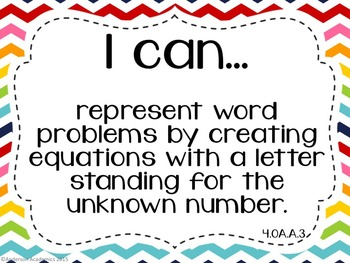 "4th Grade ""I Can"" Statements: Math - Rainbow"