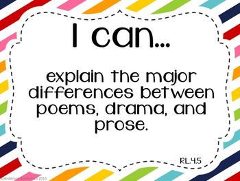 "4th Grade ""I Can"" Statements: Reading - Rainbow"