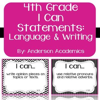"4th Grade ""I Can"" Statements: Writing, Speaking & Listening, Language - B&W"