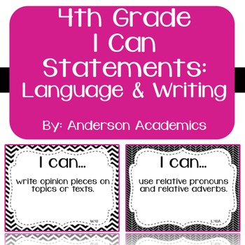 """4th Grade """"I Can"""" Statements: Writing, Speaking & Listenin"""
