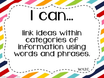 "4th Grade ""I Can"" Statements: Writing, Speaking & Listening, Language - Rainbow"