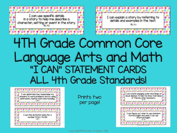 """4th Grade """"I Can"""" Statements for BOTH Common Core Language Arts and Math"""