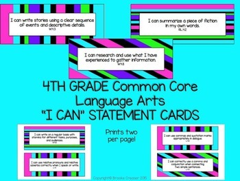 "4th Grade ""I Can"" Statements for Common Core Language Arts"