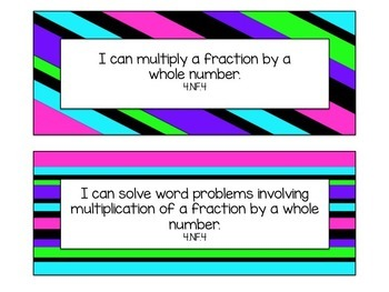 """4th Grade """"I Can"""" Statements for Common Core Math"""