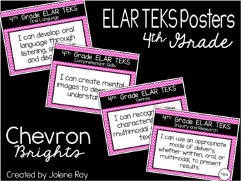 "4th Grade ""I Can"" TEKS Statement Poster Bundle: CHEVRON BRIGHTS"