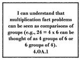 "4th Grade ""I Can' math statements"