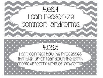 4th Grade I can Statements - Ohio Science - Grey
