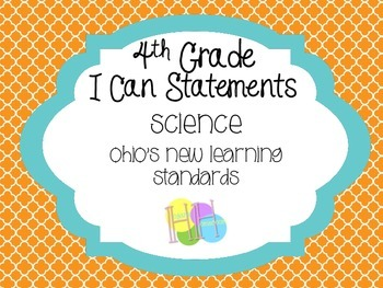 4th Grade I can Statements - Ohio Science - Orange