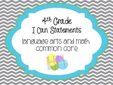 4th Grade I can Statements for Common Core (blue and green chevron/polka dot)