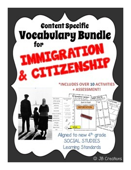 4th Grade Immigration Content Specific Vocabulary Activity Pack (Ohio Model)
