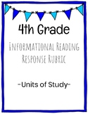 4th Grade Informational Reading Response Rubric