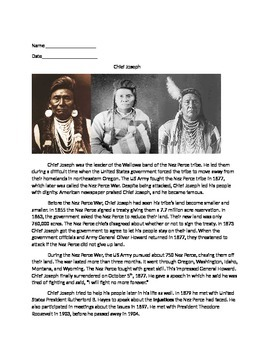 4th Grade Informational Text Comprehension Packet- Chief Joseph