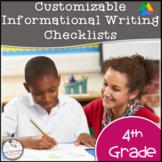 4th Grade Informational Writing Checklist~ EDITABLE