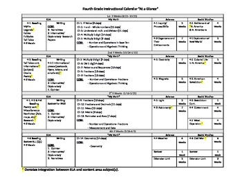 "4th Grade Instructional Calendar ""Year at a Glance"""