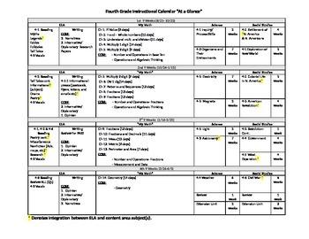 "4th Grade Instructional Calendar ""Year at a Glance"""