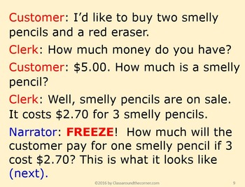 4th Grade Interactive Math Playlet: Smelly Pencils