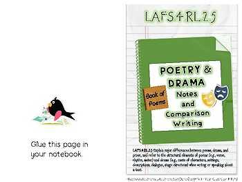 4th Grade Interactive Notebook Poetry and Drama Reference & Comparison Writing