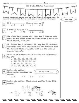 4th Grade Interim Math Assessment - Common Core