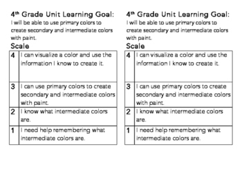 4th Grade Intermediate Color Learning Goal and Scale