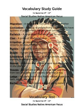 4th Grade Intro to Native Americans Vocab. Study Guide and Test