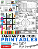 4th Grade January Winter QR Code Printables - Low Prep!