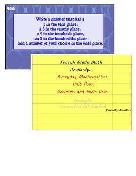 4th Grade Jeopardy: Decimals Test Prep Review~ CCSS & Everyday Math ~ SmartBoard