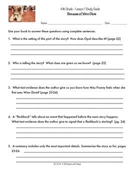 4th Grade Journeys BUNDLE of Study Guide Comprehension Questions
