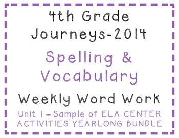 4th Grade Journeys 2014 SAMPLE of Spelling Vocabulary Acti