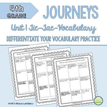 4th Grade Journeys Unit 1 Tic-Tac-Vocabulary