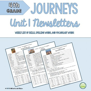 4th Grade Journeys, Unit 1, Weekly Newsletters