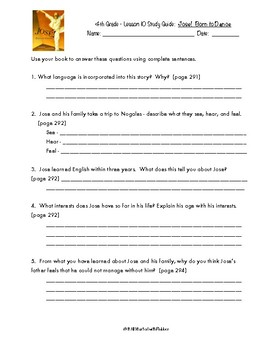 4th Grade Journeys, Unit 2 Study Guide Comprehension Questions