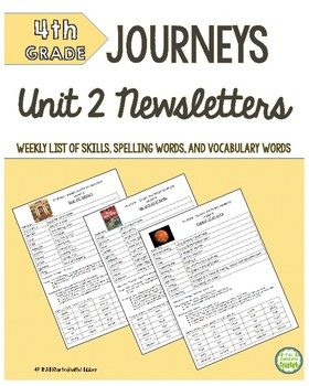 4th Grade Journeys Unit 2 Weekly Newsletters