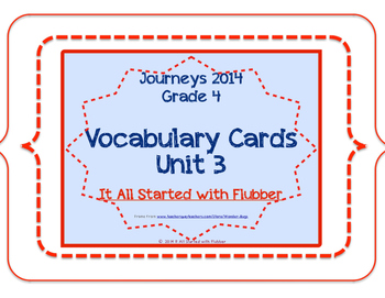 4th Grade Journeys Unit 3 Vocabulary Card Bundle for Lessons 11-15