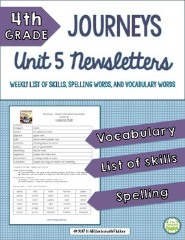 4th Grade Journeys, Unit 5, Weekly Newsletters