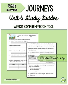 4th Grade Journeys, Unit 6 Study Guide Comprehension Questions