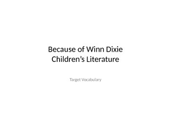 4th Grade Journeys Lesson 1 Because of Winn Dixie Vocabulary PowerPoint