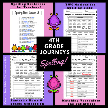 Journeys 4th Grade:  Spelling Lists
