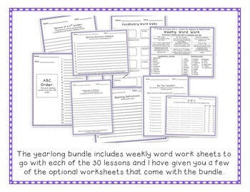 4th Grade Journeys 2012 Spelling, Vocabulary Activities SAMPLE of Year Bundle