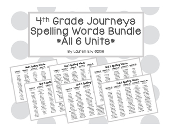 4th Grade Journeys Spelling Word Lists for ALL Units!