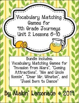 4th Grade Journeys: Unit 2 Lessons 6-10 Vocabulary Match Game Bundle
