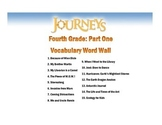 4th Grade Journeys Vocabulary Word Wall (Units 1, 2, and 3)